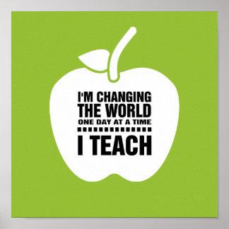 Eu ensino. Impressão de ensino da arte da