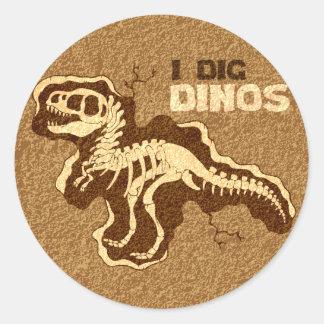Eu escavo Dinos Adesivo Em Formato Redondo