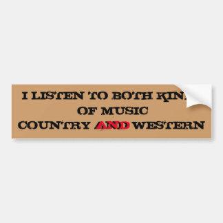 Eu escuto o país e a música ocidental adesivo para carro