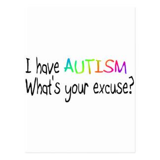 Eu estou com o autismo o que é sua desculpa cartão postal