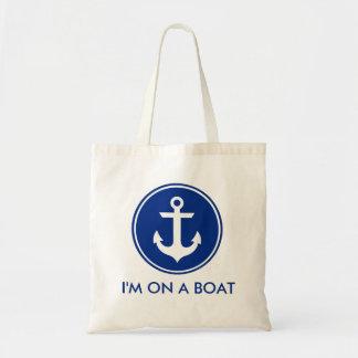 Eu estou em uma sacola azul náutica da âncora do bolsa tote