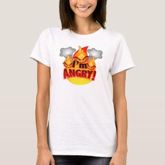 Eu estou irritado! O t-shirt branco das mulheres Camiseta