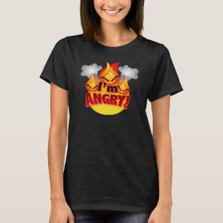 Eu estou irritado! O t-shirt escuro das mulheres Camiseta