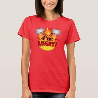 Eu estou irritado! O t-shirt vermelho das mulheres Camiseta