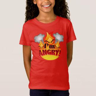 Eu estou irritado! T-shirt do vermelho das meninas Camiseta