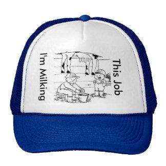 Eu estou ordenhando este chapéu do trabalho boné