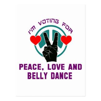 Eu estou votando para a paz, o amor e a dança do cartoes postais