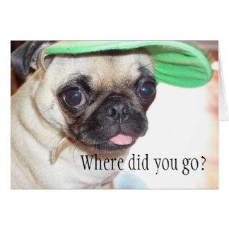 Eu falto-o cartão do filhote de cachorro do Pug