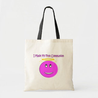 Eu fiz a meu primeiro comunhão o smiley cor-de-ros bolsa tote