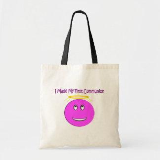 Eu fiz a meu primeiro comunhão o smiley cor-de-ros sacola tote budget