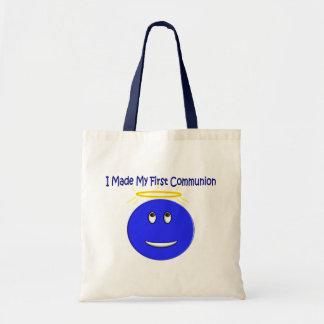 Eu fiz meu primeiro smiley do azul do comunhão bolsa para compra