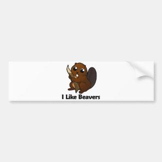 Eu gosto de castores adesivo