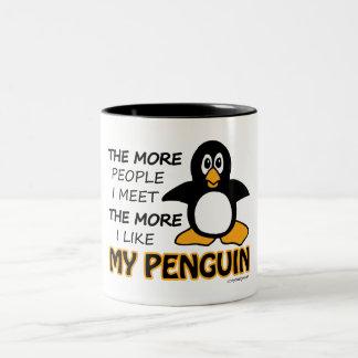 Eu gosto de meu pinguim canecas