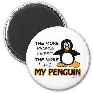 Eu gosto de meu pinguim ímã redondo 5.08cm