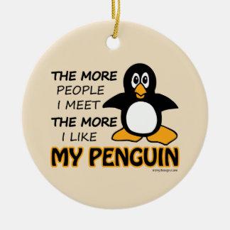 Eu gosto de meu pinguim enfeite de natal