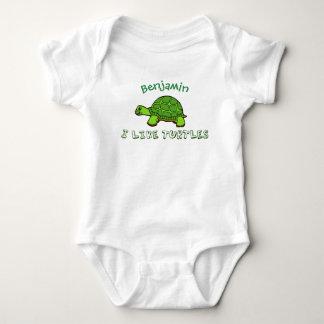 Eu gosto de tartarugas bonitos body para bebê