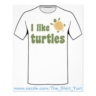 Eu gosto de tartarugas modelo de panfletos
