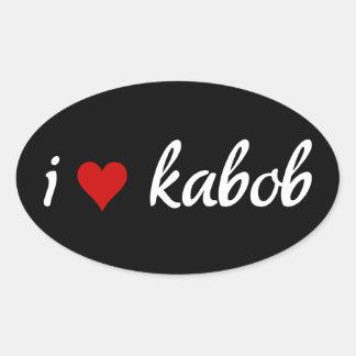 Eu kabob do coração mim amo o kabob adesivo oval