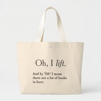 Eu levanto livros bolsa tote grande