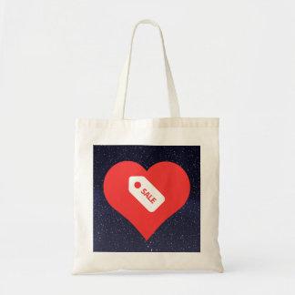 Eu loja do coração etiqueto o ícone sacola tote budget