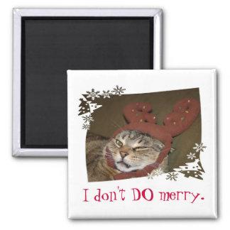 Eu NÃO FAÇO a feliz.  Gato com ímã dos Antlers!! Ímã Quadrado