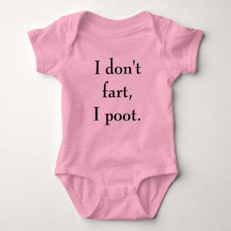 """""""Eu não fart, camisa do bebé do rosa do poot de I"""""""