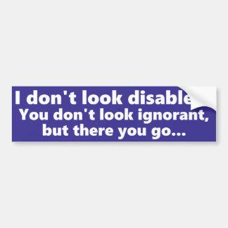 Eu não olho deficiente, mas você não olha adesivo para carro