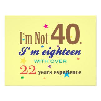 Eu não sou 40 - aniversário engraçado convite personalizado
