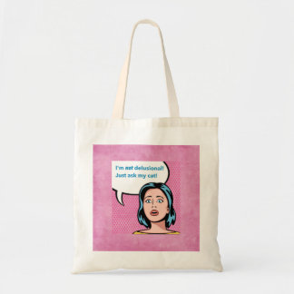 Eu não sou delusório, peço minha sacola do gato sacola tote budget