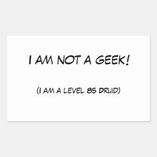 Eu não sou um geek! adesivo retangular