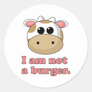 Eu não sou um hamburguer adesivos redondos