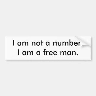 Eu não sou um número! Eu sou um homem livre Adesivo Para Carro