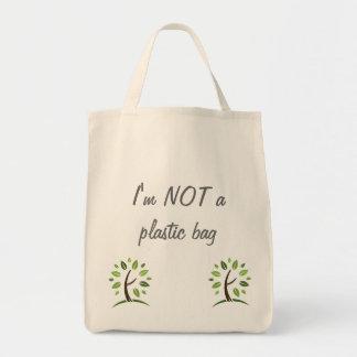 Eu não sou um saco de plástico sacola tote de mercado