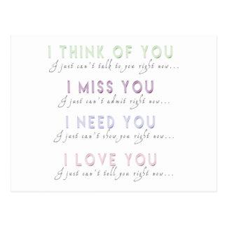 Eu penso a senhorita Necessidade Amor Você Cartão