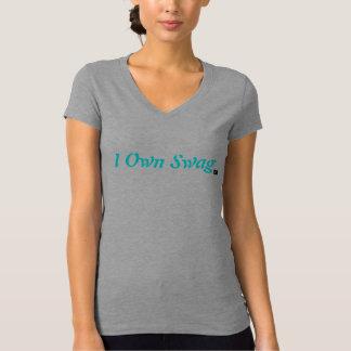 Eu possuo o t-shirt do V-Pescoço dos ganhos Camiseta