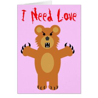 Eu preciso o amor cartoes