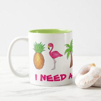Eu preciso uma caneca da palmeira do abacaxi do