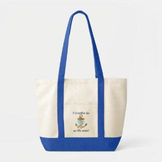 Eu preferencialmente estaria na água (a sacola) bolsa para compra