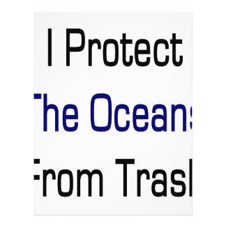 Eu protejo os oceanos do lixo panfletos personalizados