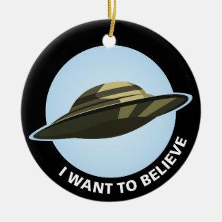 Eu quero acreditar o ornamento cerâmico