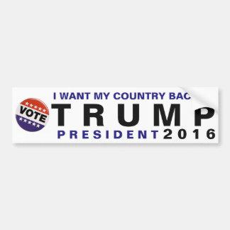 Eu quero meu pára-choque político do trunfo 2016 adesivo para carro