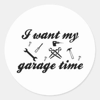 Eu quero meu tempo da garagem adesivo redondo