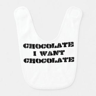 Eu quero o chocolate babador infantil