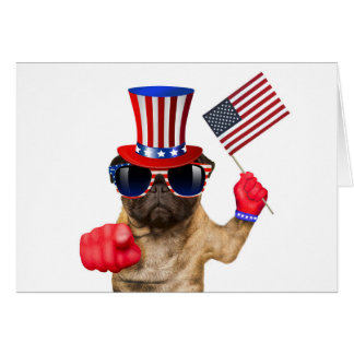 Eu quero-o, pug, cão do tio Sam, Cartão