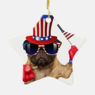 Eu quero-o, pug, cão do tio Sam, Ornamento De Cerâmica