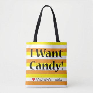 """""""Eu quero saco da doçura ou travessura dos doces"""" Bolsas Tote"""
