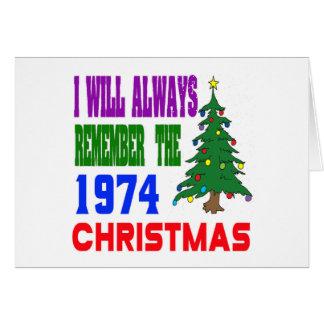 Eu recordarei sempre o Natal 1974 Cartão