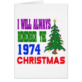 Eu recordarei sempre o Natal 1974 Cartao