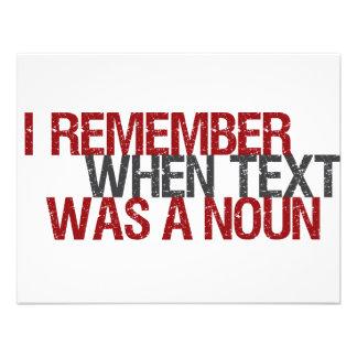 Eu recordo quando o texto era um substantivo convites