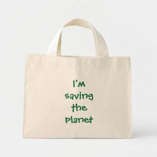 Eu salvar o planeta sacola tote mini